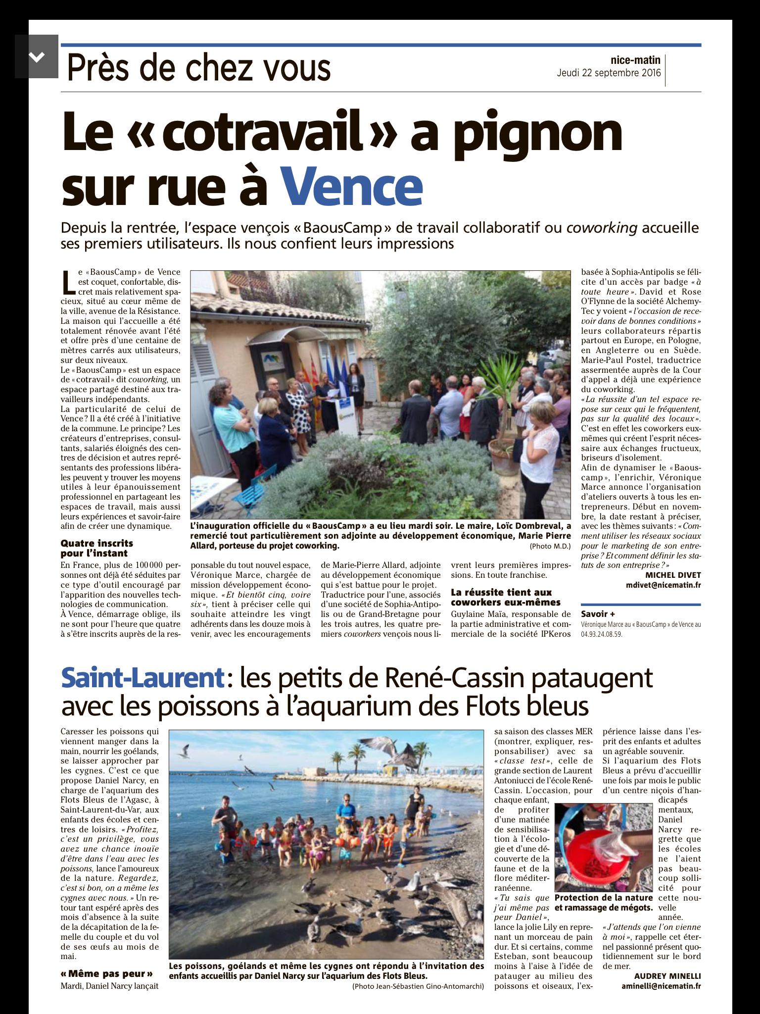 Nice Matin Septembre 2016 - Espace Coworking Métropole Nice Côte d'Azur