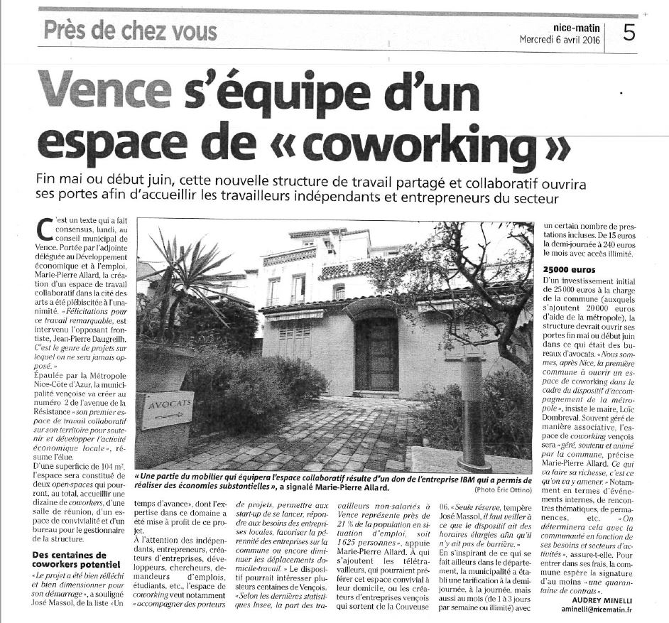 Nice Matin Avril 2016 - Espace Coworking Métropole Nice Côte d'Azur