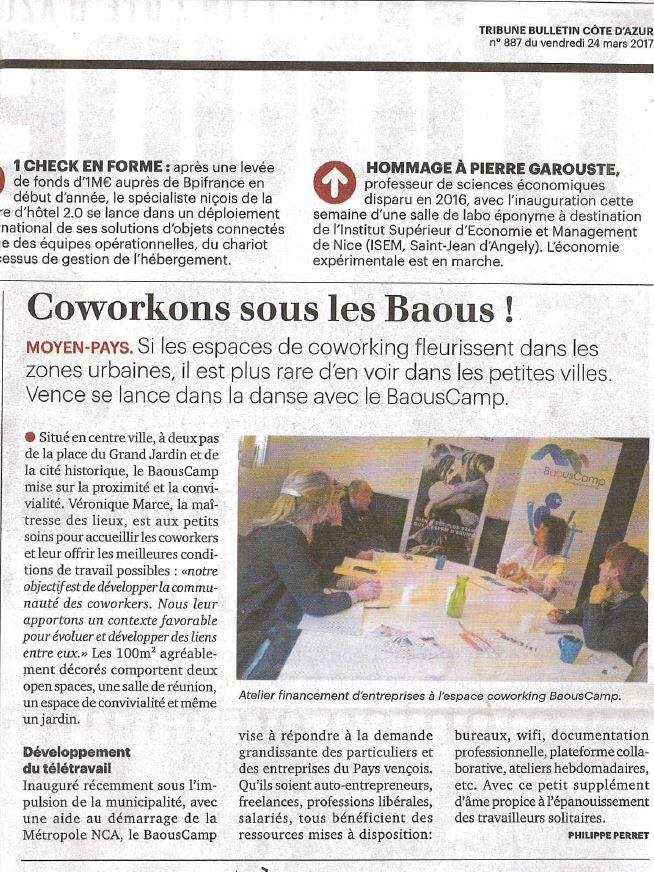 Tribune Bulletin Côte d'Azur Mars 2017 - Espace Coworking Métropole Nice Côte d'Azur