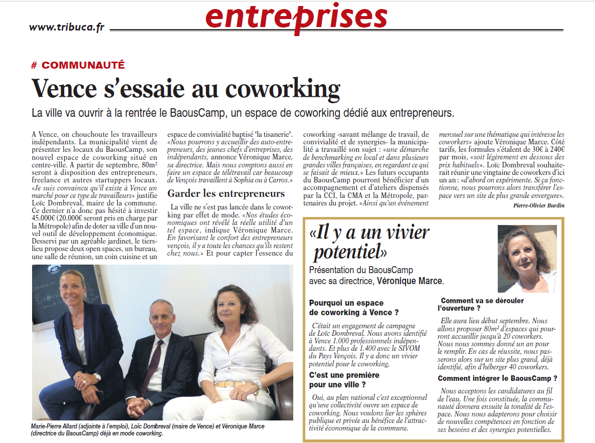 Tribune Bulletin Cote d'Azur - Espace Coworking Métropole Nice Côte d'Azur