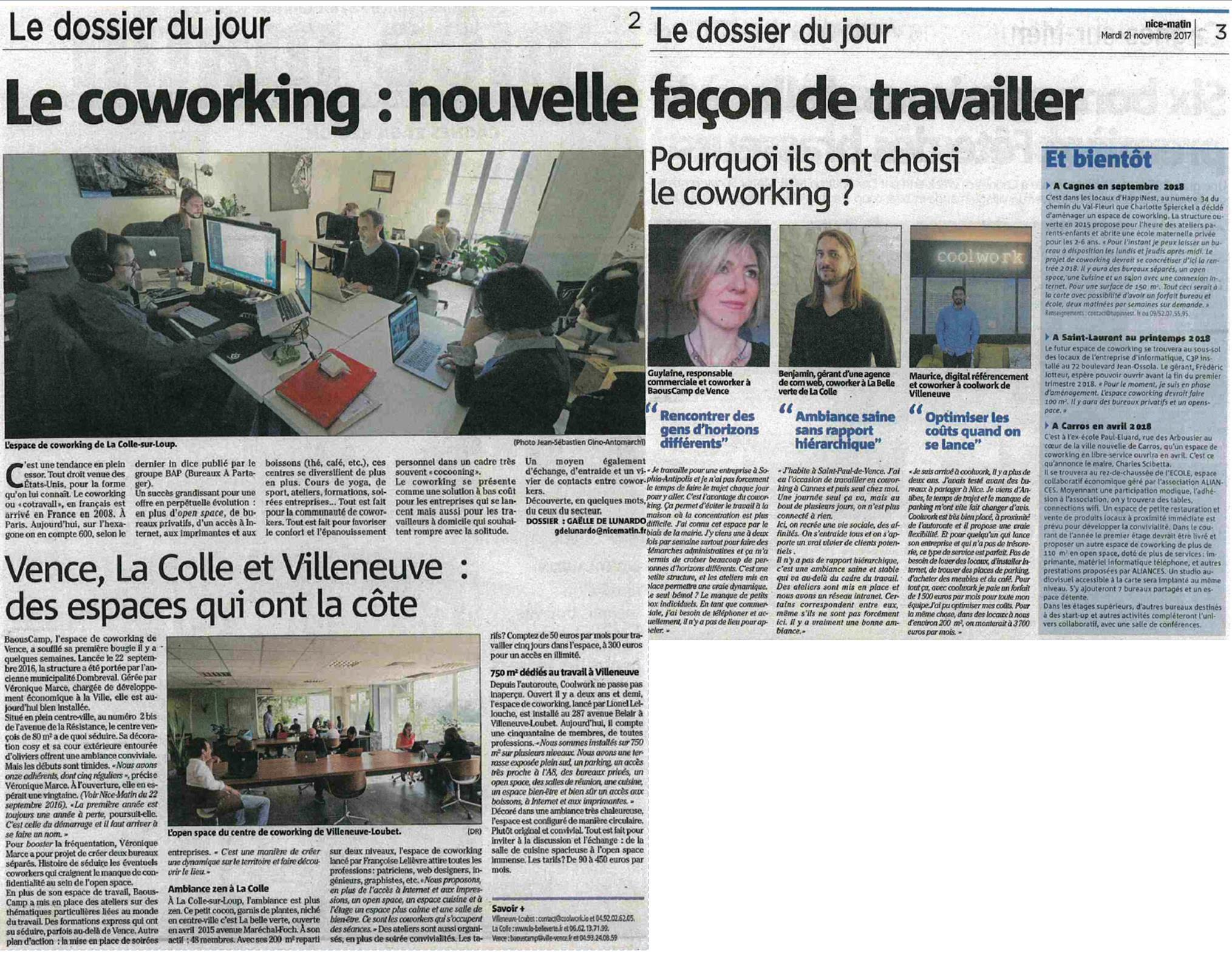 Nice Matin Novembre 2017 - Espaces Coworking Bassin Cagnois